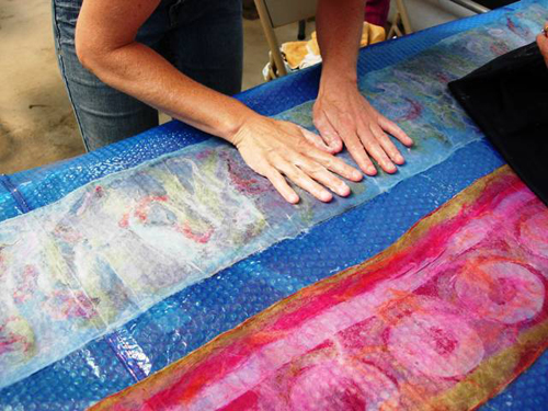 Валяние из вязаного полотна